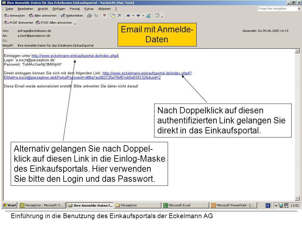 Email mit Anmelde-Daten