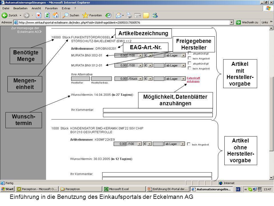 Freigegebene Hersteller Möglichkeit, Datenblätter anzuhängen