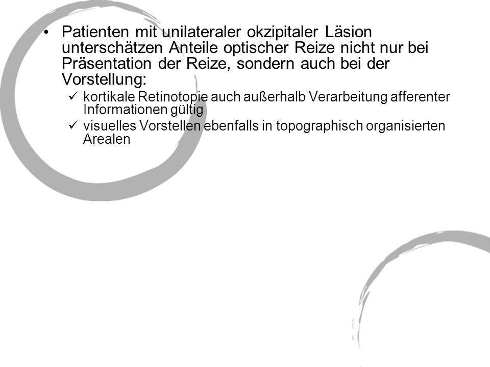Patienten mit unilateraler okzipitaler Läsion unterschätzen Anteile optischer Reize nicht nur bei Präsentation der Reize, sondern auch bei der Vorstellung: