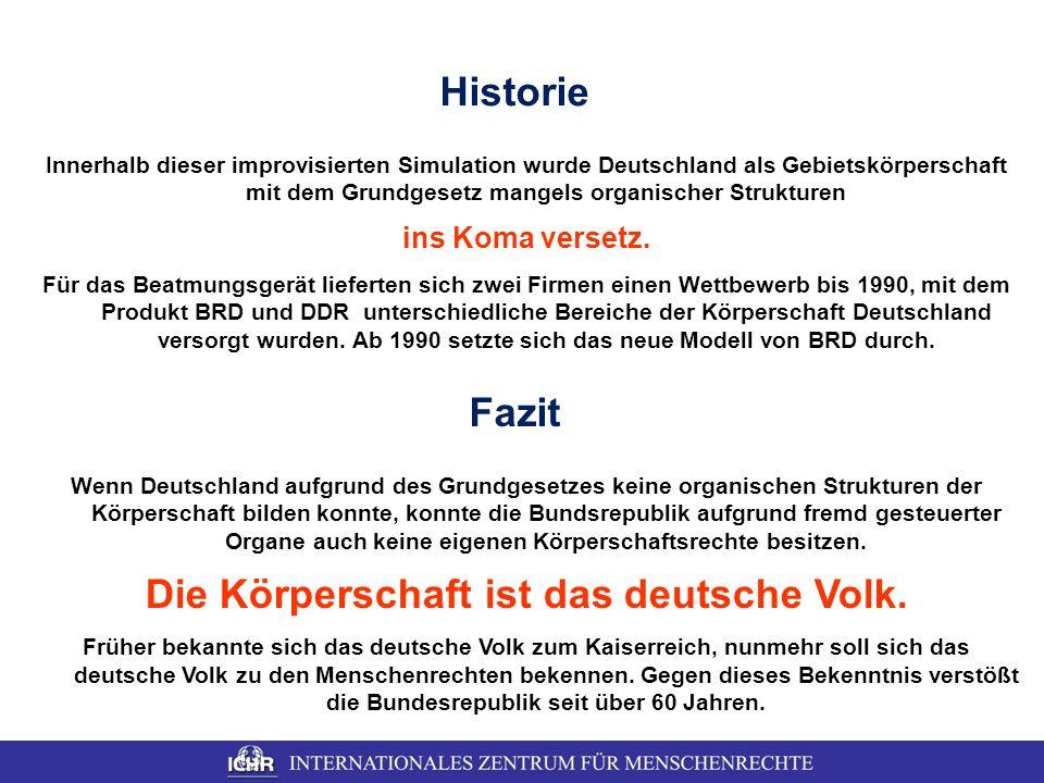 Die Körperschaft ist das deutsche Volk.