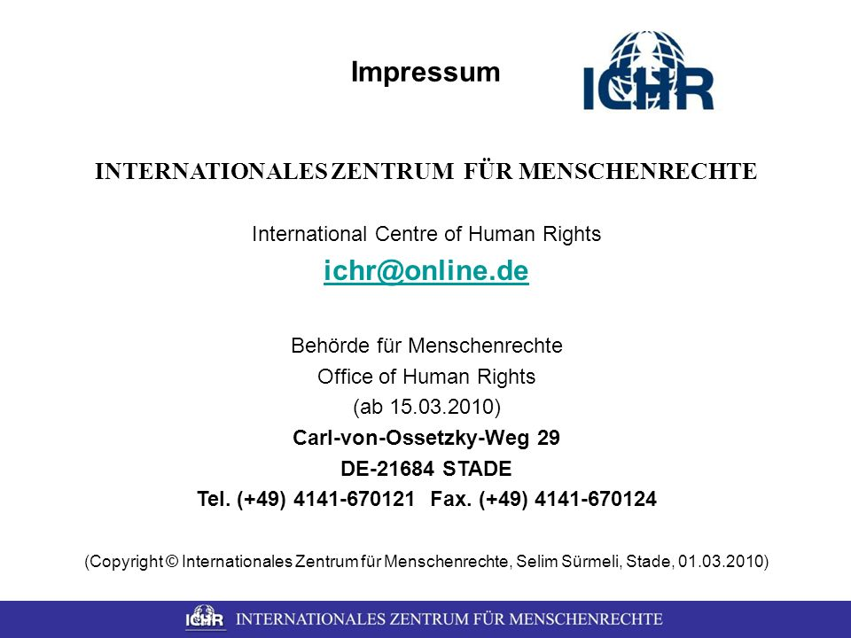 INTERNATIONALES ZENTRUM FÜR MENSCHENRECHTE Carl-von-Ossetzky-Weg 29