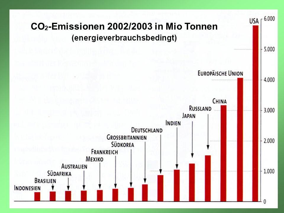 CO2-Emissionen 2002/2003 in Mio Tonnen (energieverbrauchsbedingt)