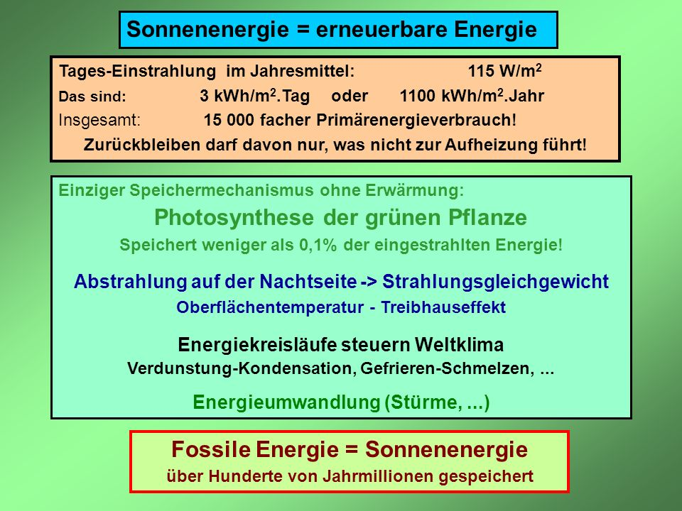 Photosynthese der grünen Pflanze Fossile Energie = Sonnenenergie