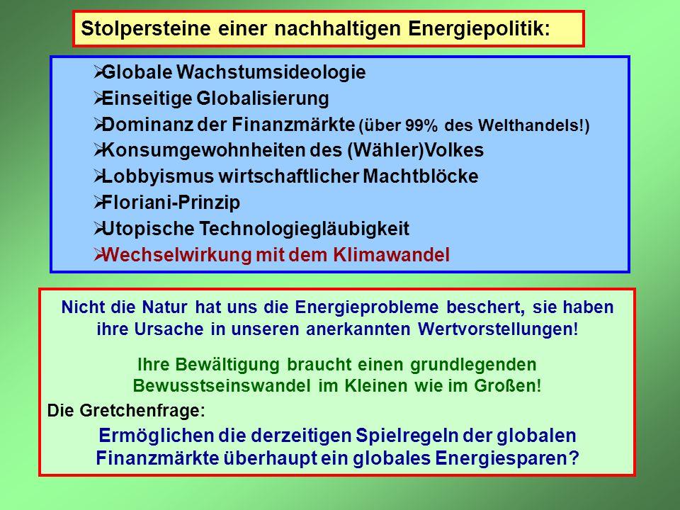 Stolpersteine einer nachhaltigen Energiepolitik: