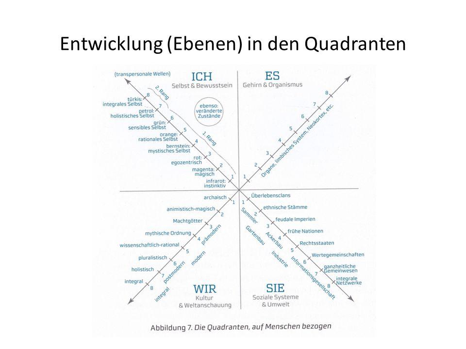 Entwicklung (Ebenen) in den Quadranten