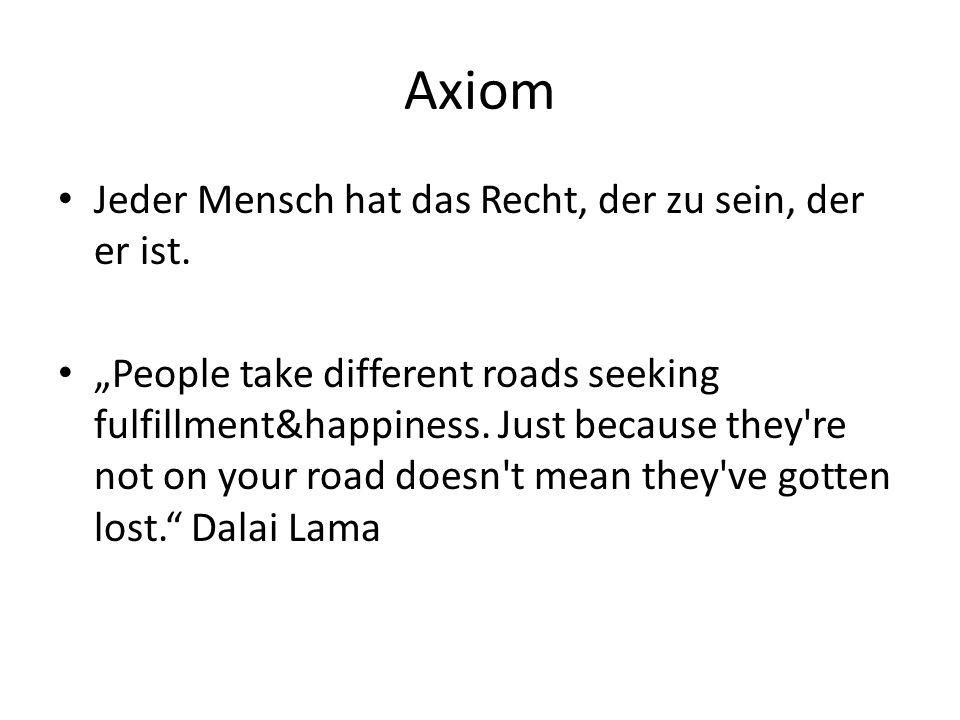 Axiom Jeder Mensch hat das Recht, der zu sein, der er ist.