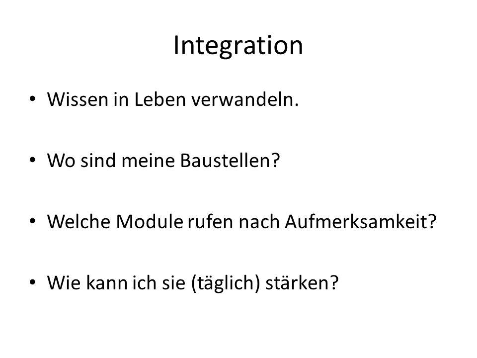Integration Wissen in Leben verwandeln. Wo sind meine Baustellen