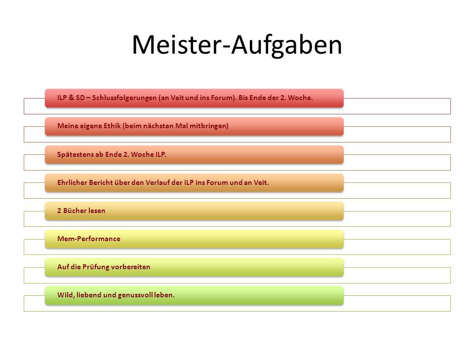Meister-Aufgaben ILP & SD – Schlussfolgerungen (an Veit und ins Forum). Bis Ende der 2. Woche. Meine eigene Ethik (beim nächsten Mal mitbringen)