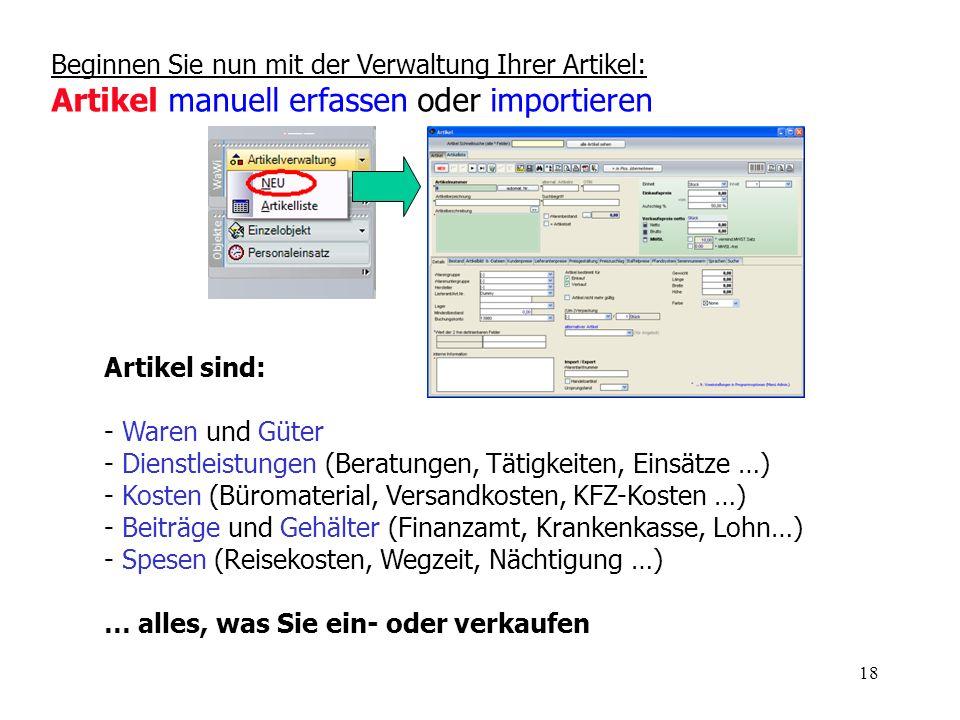 Beginnen Sie nun mit der Verwaltung Ihrer Artikel: Artikel manuell erfassen oder importieren