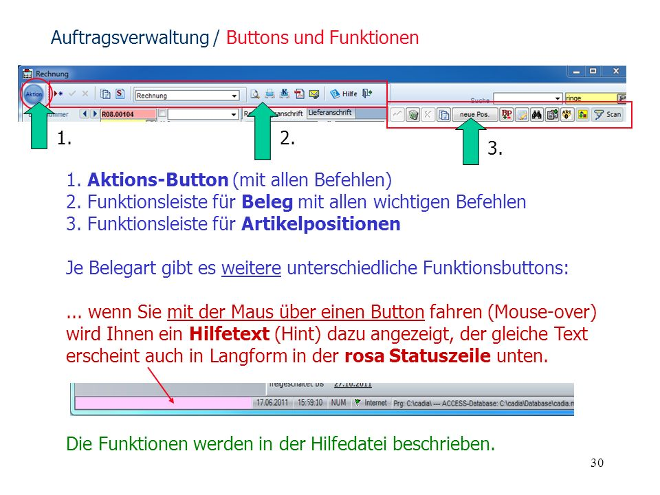 Auftragsverwaltung / Buttons und Funktionen