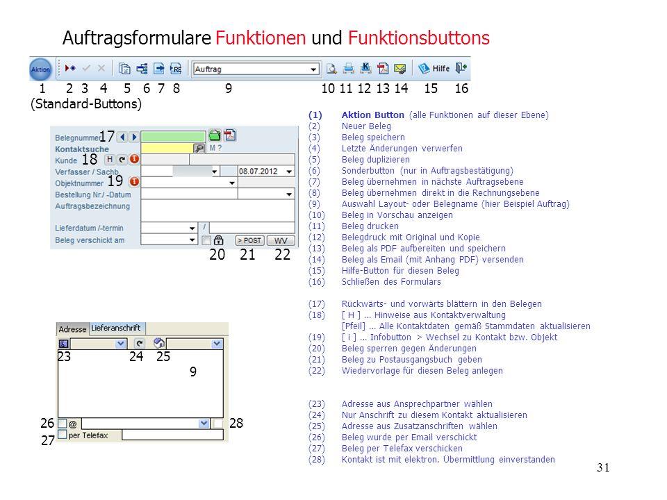 Auftragsformulare Funktionen und Funktionsbuttons