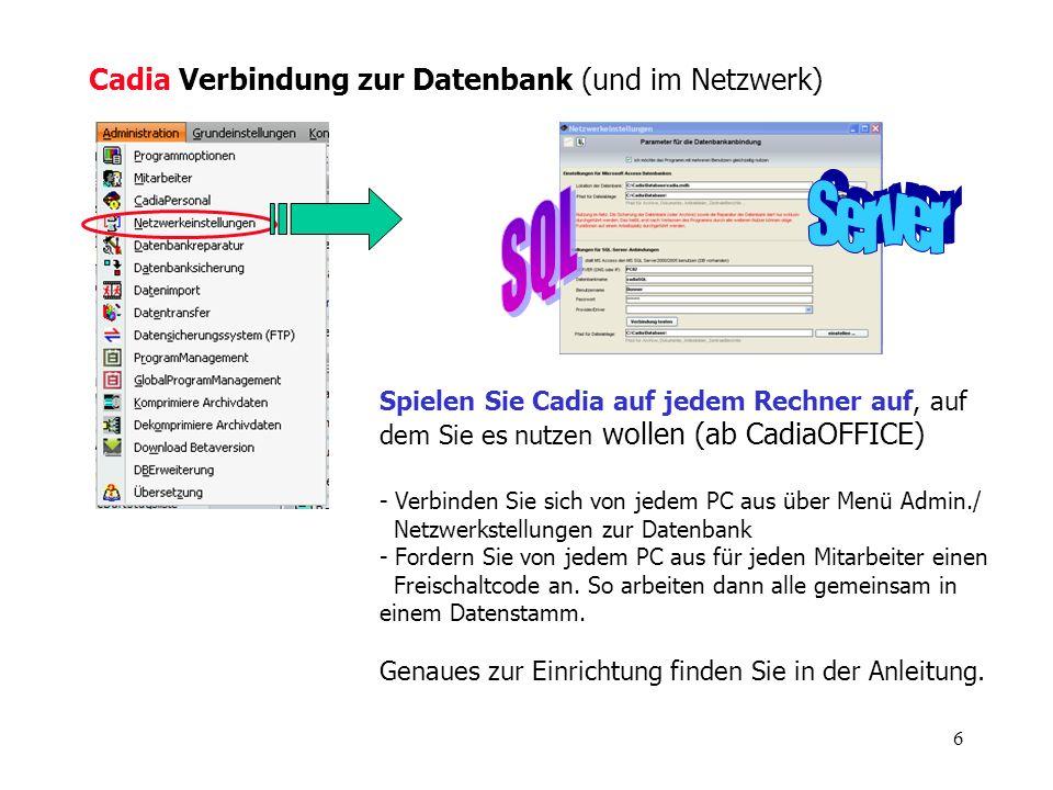 SQL Server Cadia Verbindung zur Datenbank (und im Netzwerk)