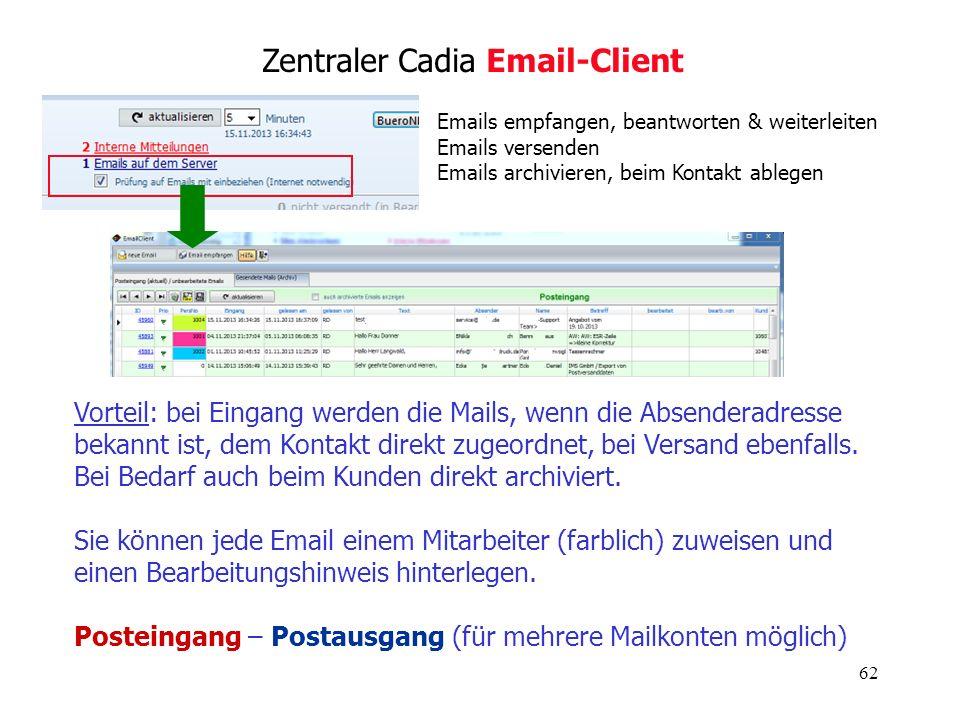 Zentraler Cadia Email-Client
