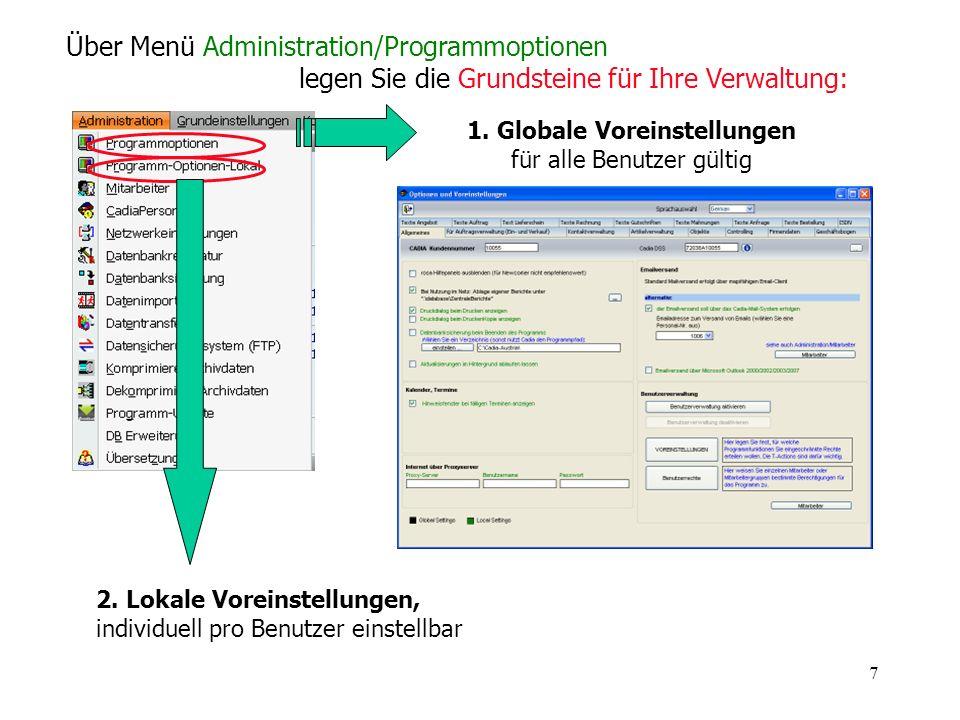 1. Globale Voreinstellungen für alle Benutzer gültig