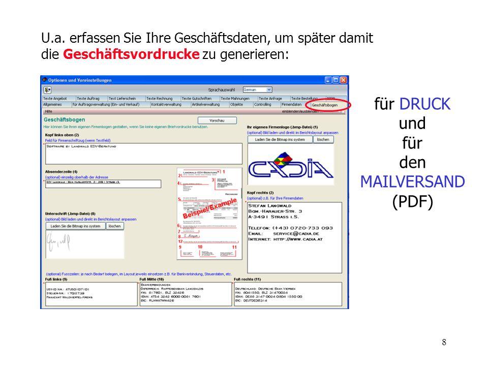 und für den MAILVERSAND (PDF)