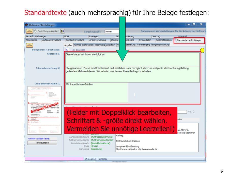 Standardtexte (auch mehrsprachig) für Ihre Belege festlegen: