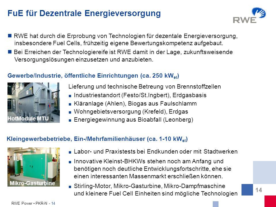 FuE für Dezentrale Energieversorgung