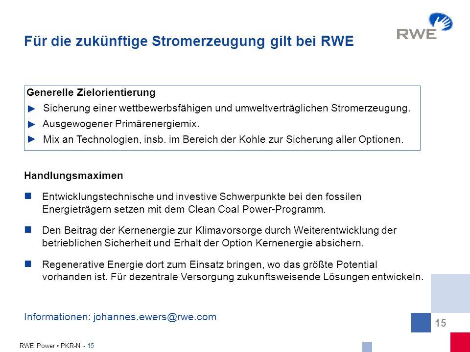 Für die zukünftige Stromerzeugung gilt bei RWE