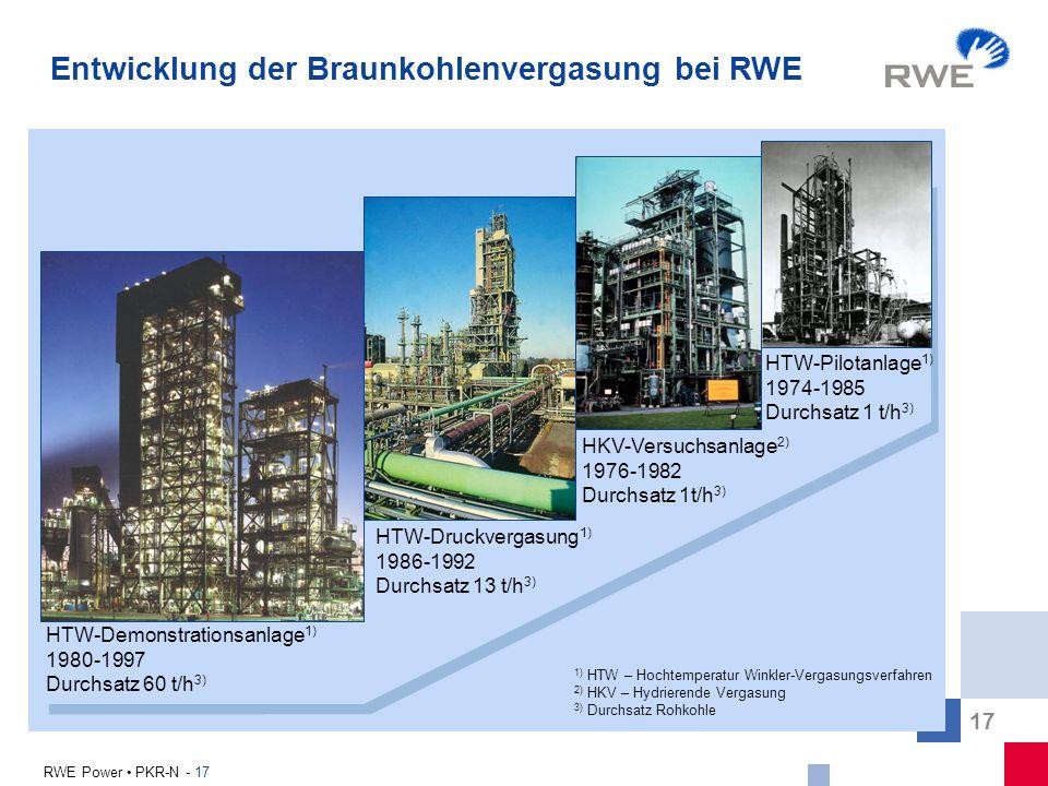 Entwicklung der Braunkohlenvergasung bei RWE
