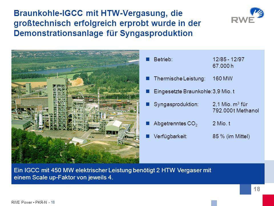 Braunkohle-IGCC mit HTW-Vergasung, die großtechnisch erfolgreich erprobt wurde in der Demonstrationsanlage für Syngasproduktion