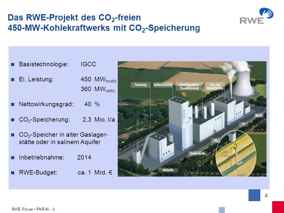 Das RWE-Projekt des CO2-freien 450-MW-Kohlekraftwerks mit CO2-Speicherung