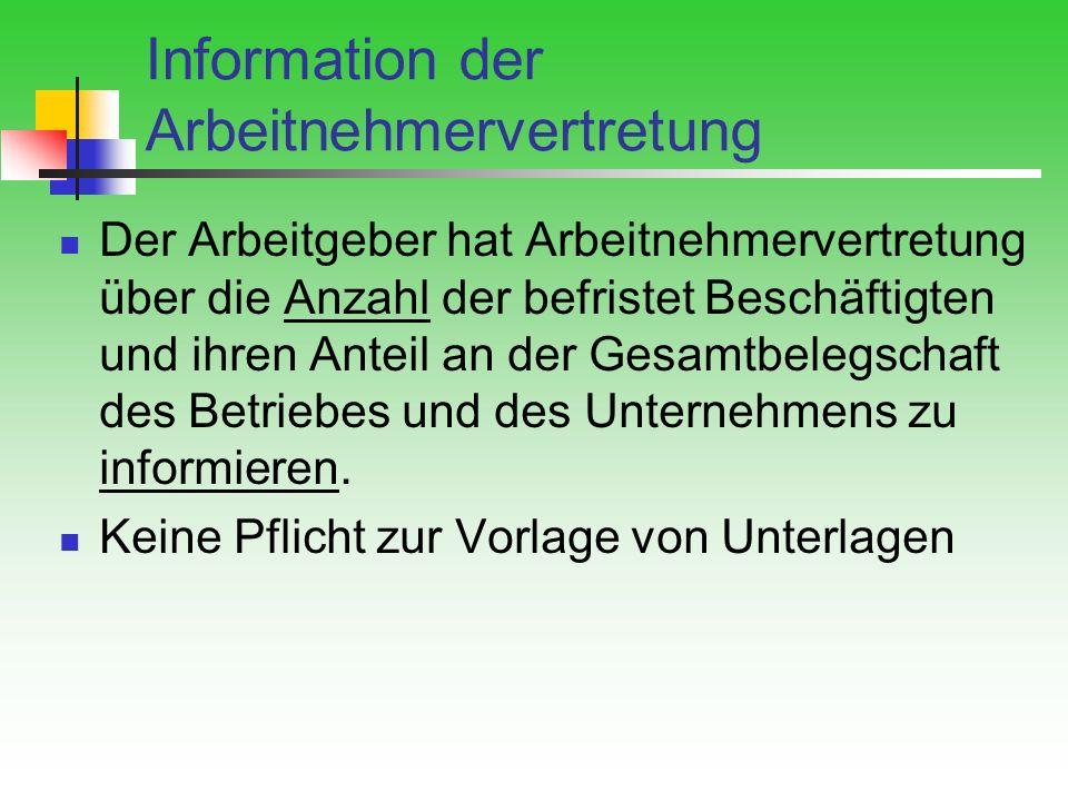 Information der Arbeitnehmervertretung