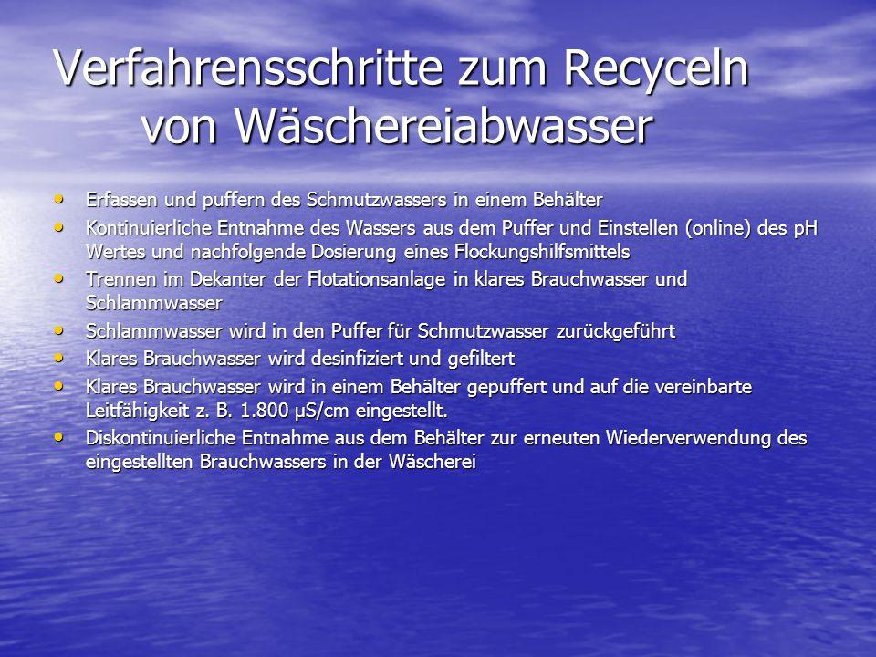 Verfahrensschritte zum Recyceln von Wäschereiabwasser