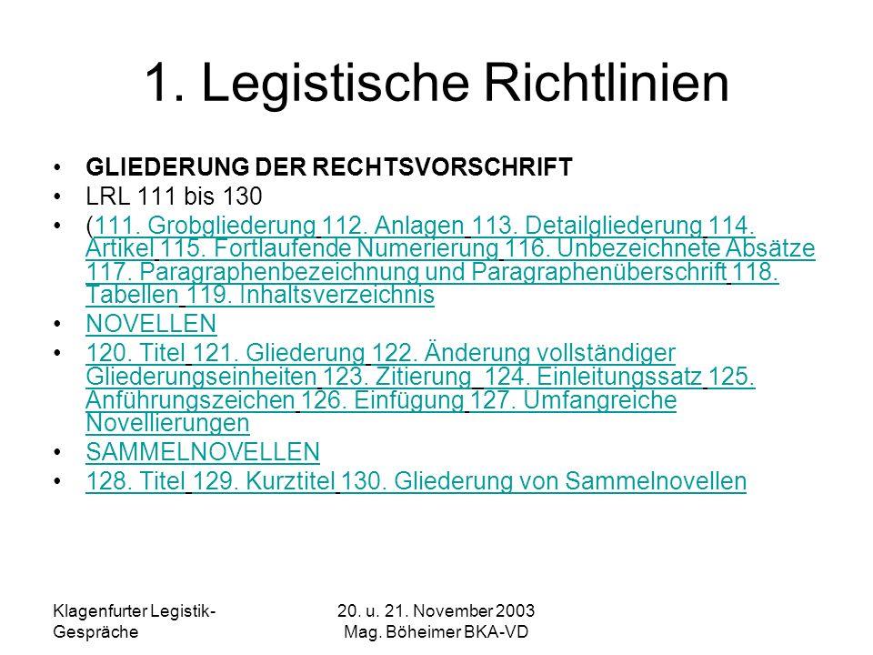1. Legistische Richtlinien