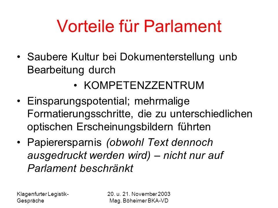 Vorteile für Parlament