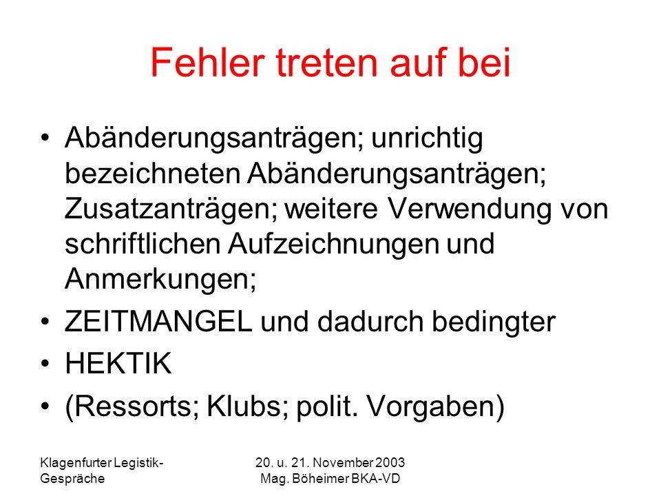 20. u. 21. November 2003 Mag. Böheimer BKA-VD