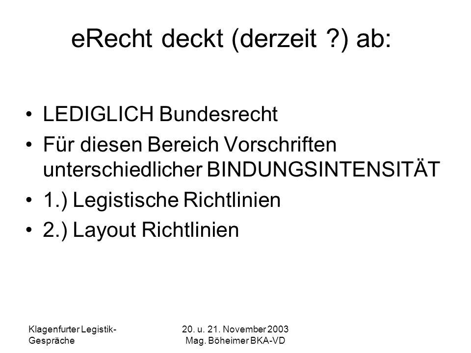 eRecht deckt (derzeit ) ab:
