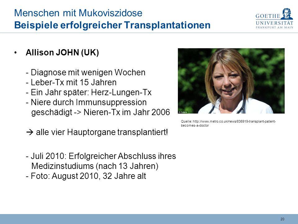 Menschen mit Mukoviszidose Beispiele erfolgreicher Transplantationen