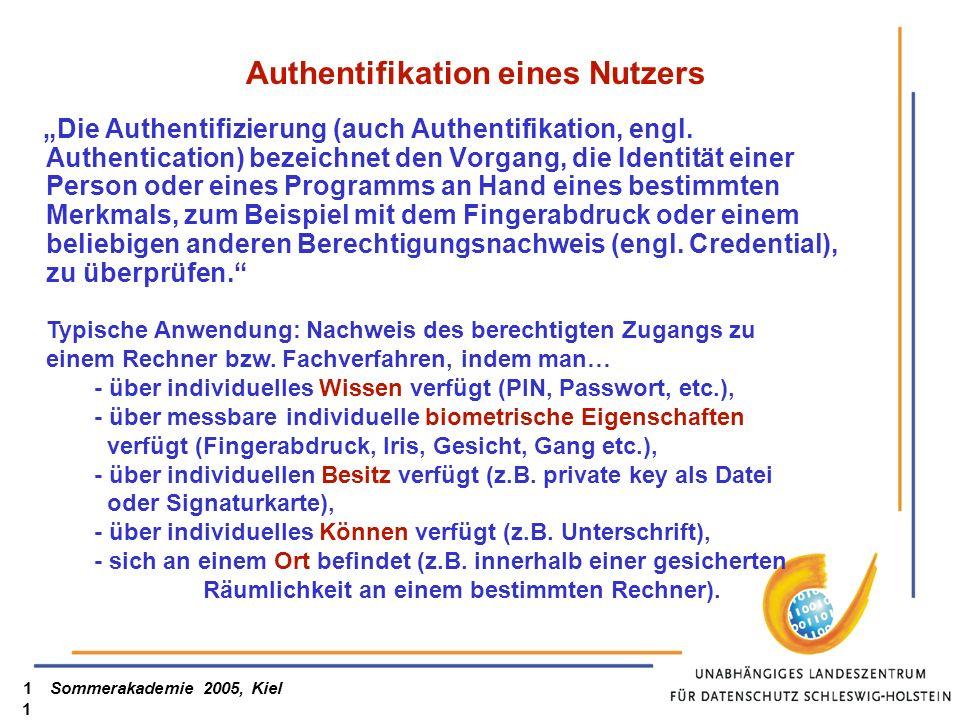 Authentifikation eines Nutzers