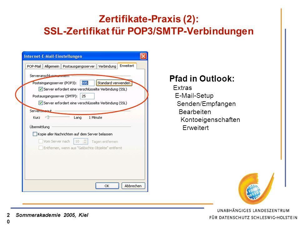 Zertifikate-Praxis (2): SSL-Zertifikat für POP3/SMTP-Verbindungen