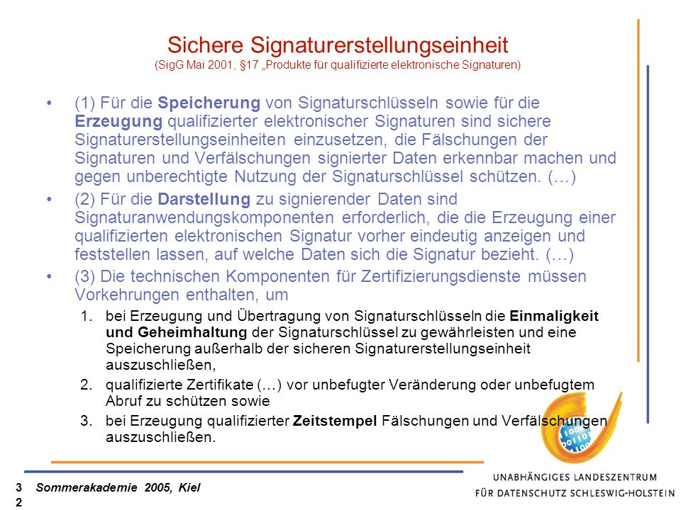 """Sichere Signaturerstellungseinheit (SigG Mai 2001, §17 """"Produkte für qualifizierte elektronische Signaturen)"""