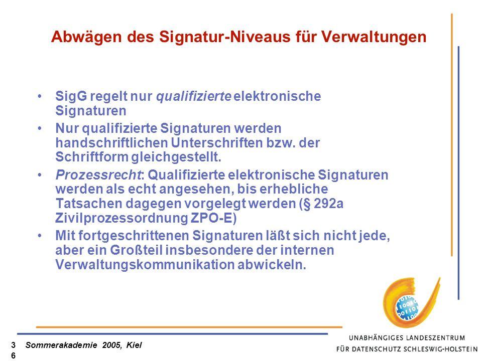 Abwägen des Signatur-Niveaus für Verwaltungen