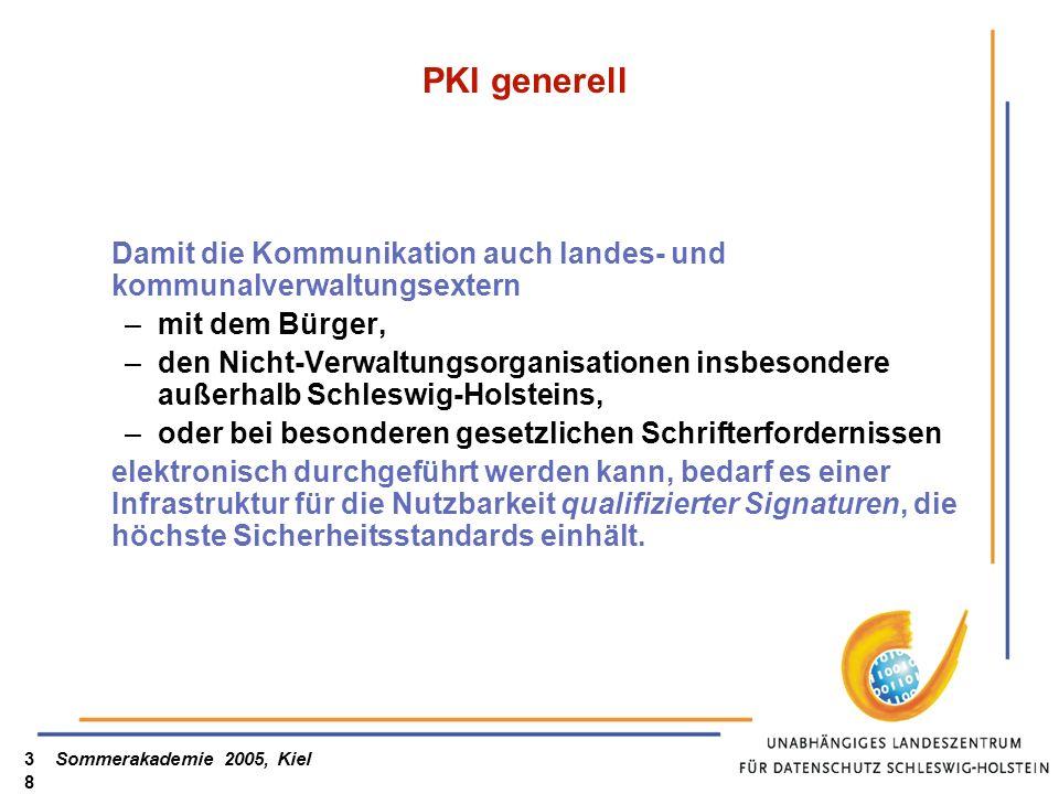 PKI generell Damit die Kommunikation auch landes- und kommunalverwaltungsextern. mit dem Bürger,