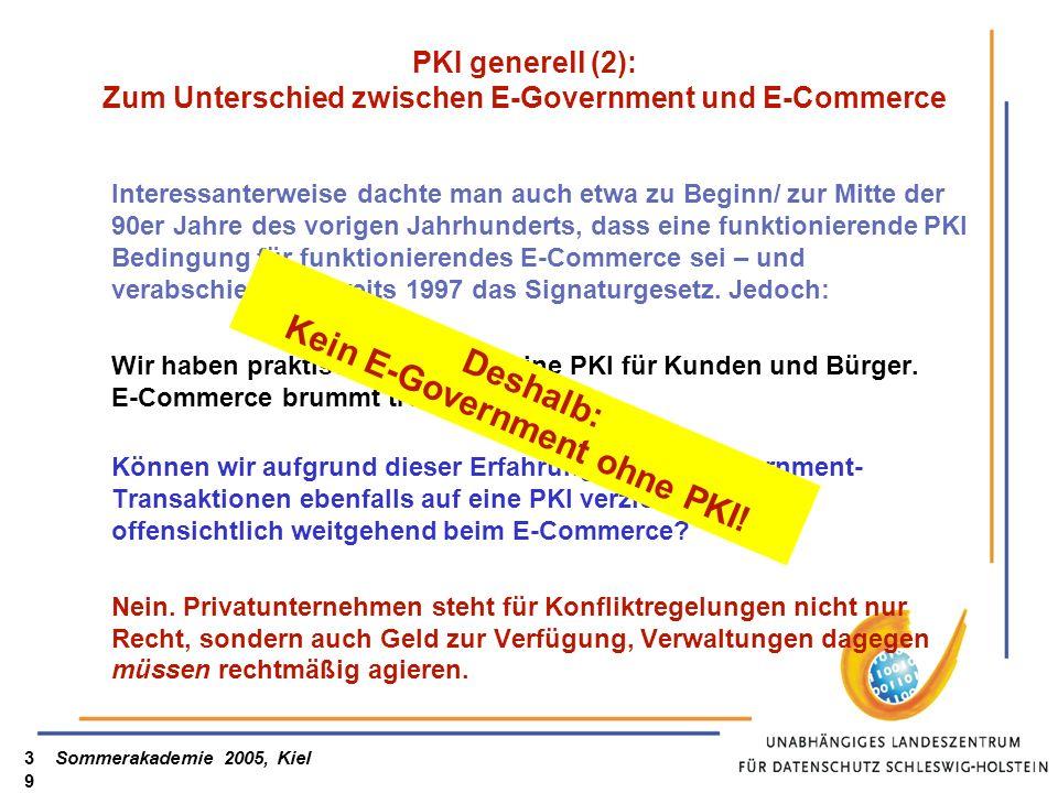 PKI generell (2): Zum Unterschied zwischen E-Government und E-Commerce