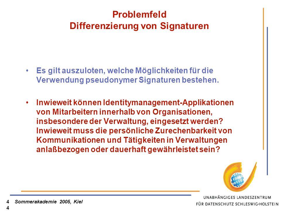 Problemfeld Differenzierung von Signaturen