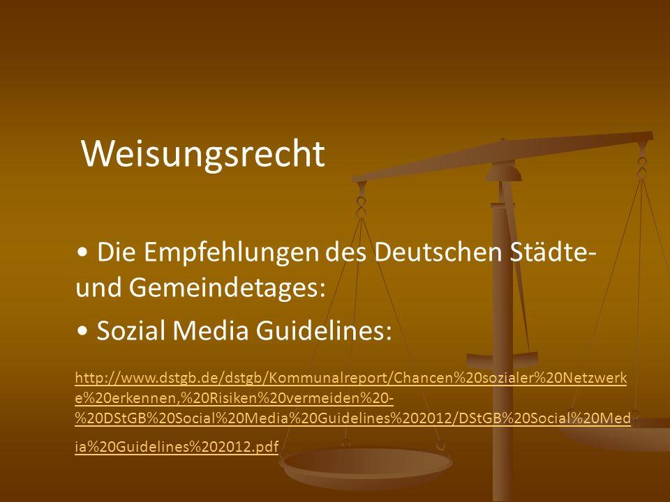 Die Empfehlungen des Deutschen Städte- und Gemeindetages: