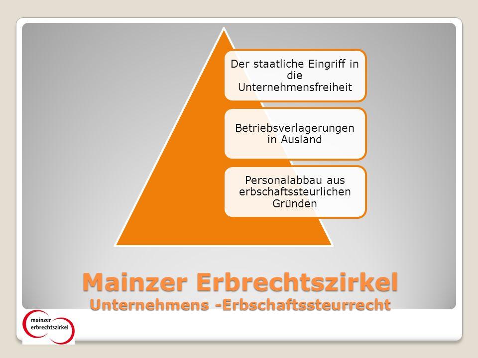 Mainzer Erbrechtszirkel Unternehmens -Erbschaftssteurrecht