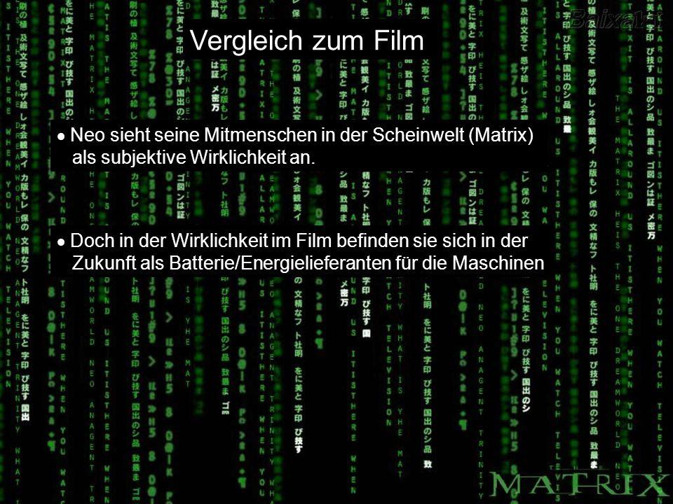 Vergleich zum Film Neo sieht seine Mitmenschen in der Scheinwelt (Matrix) als subjektive Wirklichkeit an.