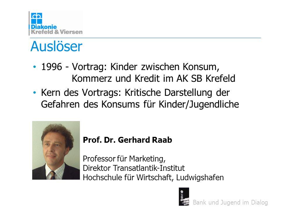 Auslöser 1996 - Vortrag: Kinder zwischen Konsum, Kommerz und Kredit im AK SB Krefeld.