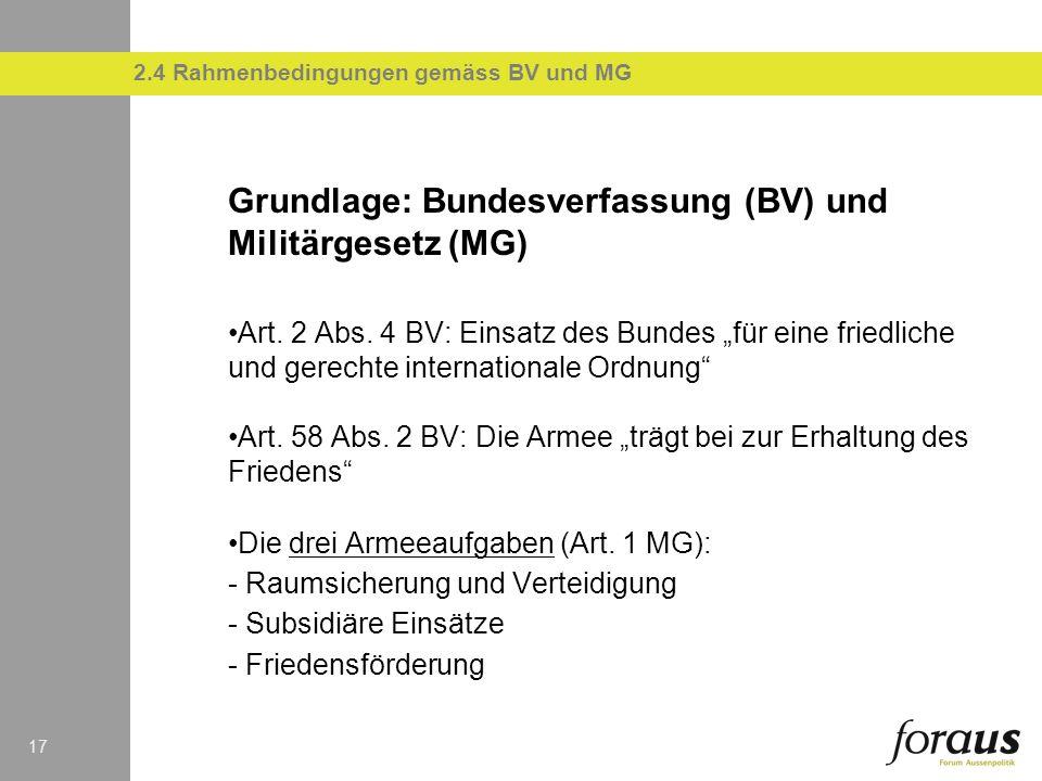 2.4 Rahmenbedingungen gemäss BV und MG