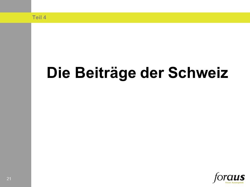 Die Beiträge der Schweiz