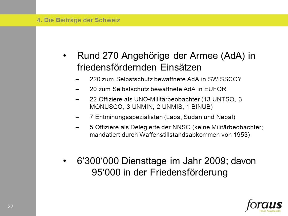 4. Die Beiträge der Schweiz