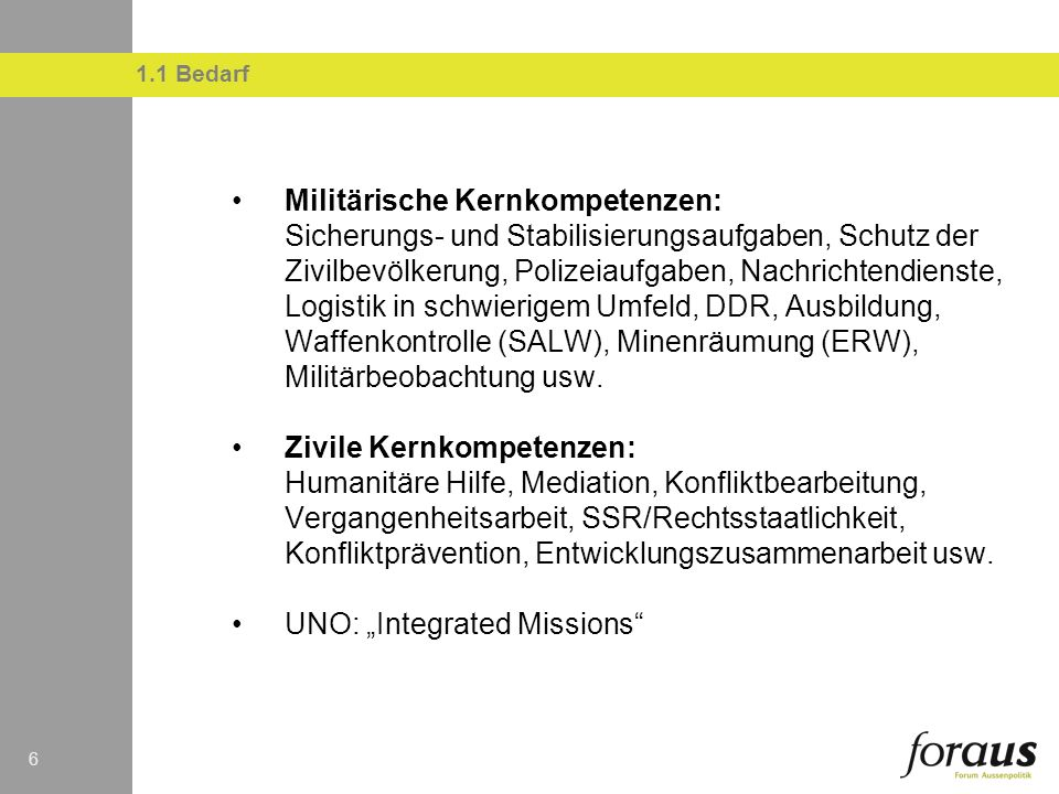 "UNO: ""Integrated Missions"