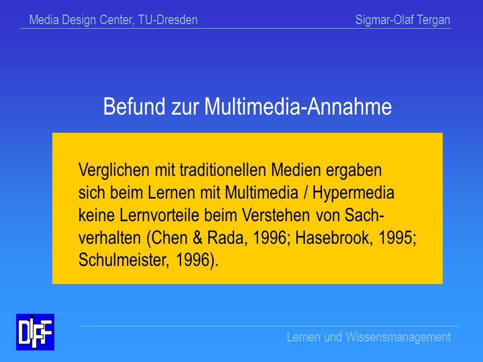 Befund zur Multimedia-Annahme