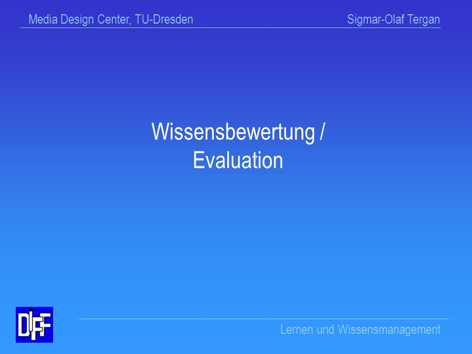 Wissensbewertung / Evaluation