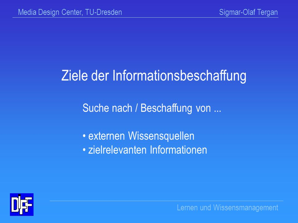 Ziele der Informationsbeschaffung